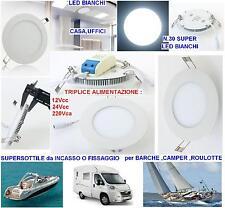 PLAFONIERA-LAMPADA MARINA 30 LED BIANCHI 6W 12V-24V o 220V BARCA CAMPER ROULOTTE