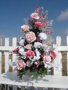 Pink White Church Silk Bridal Wedding Altar Flowers Arrangement Reception Events