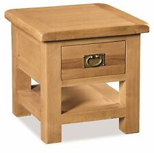 Rustic Oak Lamp End Side Accent Table with Drawer Zelah Solid Wood Furniture
