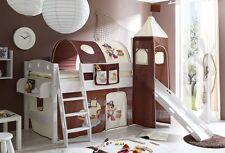 Lit mezzanine avec toboggan et tour KENNY Pin teinté blanc tissus Pirate Marron-