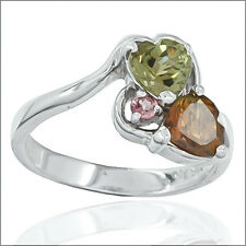 2.0ct Heart Mixed Tourmaline In Sterling Silver Three-Stone Ring #91048