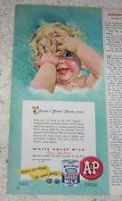 1947 print ad - A&P foods White House Milk cute Baby Peek-a-boo artwork art AD