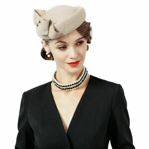 Women Wool Felt Queen Kate Shape Hat Bow Cocktail Race Modern Party Pillbox A506