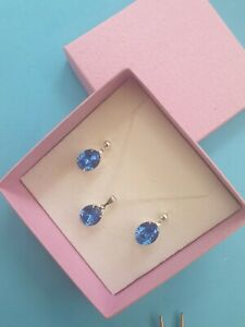 Sterling silver necklace & earring set in Swarovski Elements Blue Sapphire