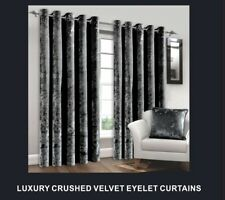 CHARCOAL LUXURY CRUSHED VELVET CURTAINS READY MADE LINED EYELET RING TOP 90 x 90