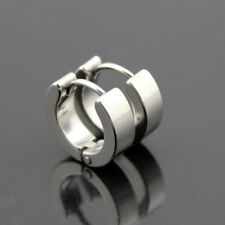 PAIR OF MENS LADIES STAINLESS STEEL 316 L HUGGIE HOOP SILVER COLOUR EARRINGS UK