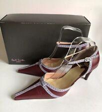 PAUL SMITH DESIGNER BROGUE BAR SHOE Burgundy Red & Pink Heels Size 6.5/39.5 VGC