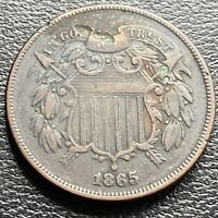 1865 Two Cent Piece 2c High Grade XF Details #29452