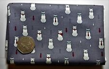 fat quarter of cotton poplin with small white cats and ties on dark grey