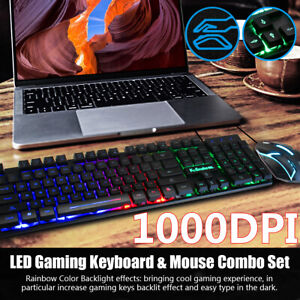 1000DPI Pro Gaming Keyboard and Mouse Set Rainbow LED Wired USB for  Laptop