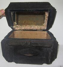 Antique Large Exquisite Tramp Art Box Velvet Top Decorative Item boite clochard