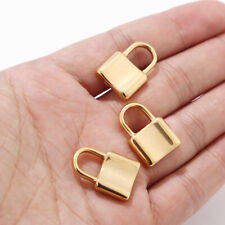 Gold/Silver Tone Stainless Steel Lock Charm 3D Pendent for DIY Necklace Making
