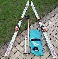 """Vintage K2 Unlimited UVO 80"""" Skis M46 Racing Twincam4 Bindings Scott Pro Poles"""