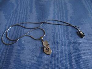 14K Karat Gold Tricolor Heart Flip Flop Sandal Charm Pendant Necklace
