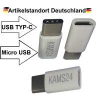 3 Adapter Typ-C 3.1 zu Micro USB Konverter Tablet Stecker Buchse Ladekabel weiß