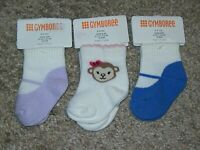 NWT GYMBOREE OUTLET 3 PAIR LOT OF GIRLS SOCKS SIZE 0-3 MONTHS FITS SHOE SIZE 01