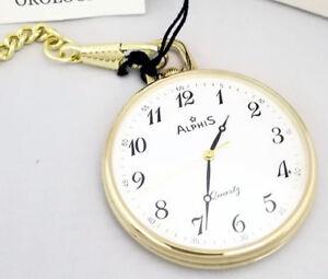 Alphis Pocket Watch Swiss Quartz Gold Plated + Chain+Incision