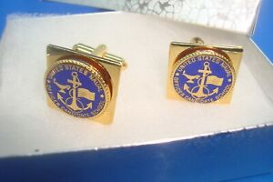 Vintage USN UNITED STATES NAVAL OFFICER CANDIDATE SCHOOL Gold Tone Cuff Links
