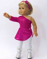 "Doll Clothes 18"" Ice Skating Hot Pink Tights Skate Fits American Girl Doll"