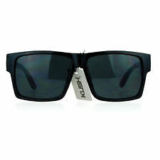 Kush Gangster Rectangular Squared All Black Horn Rim Sunglasses