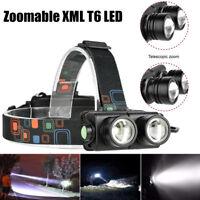 Zoomable XML T6 LED Headlight Head Lamp Waterproof Outdoor Flashlight 2x18650