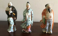 Beautiful Set Of Three Chinese Ceramic Porcelain Small Statues