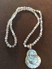 LeslieA. Designs Labradorite Bead & Carved Buddha Pendant Necklace with Diamonds