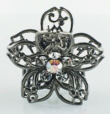 USA Quality Hair Claw Clip Hairpin use Swarovski Crystal Vintage Flower Black 2