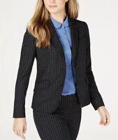 Anne Klein Women's Pinstriped Two-Button Jacket (8, Anne Black/Versailles)