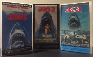 JAWS + JAWS 2 + JAWS 3 - VHS PAL TAPES - SPIELBERG SHARK THRILLER - V.G.C.