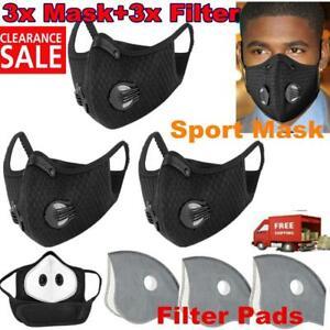 3x Atemschutzmaske Gesichtsmaske Mundschutz 2 Filter Waschbar Staubmaske Sport