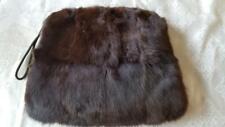 Lovely Satin Lined Vintage Dark Brown Fur Muff Wristlet Hand Warmer Mink ?