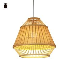 Bamboo Wicker Rattan Cell Pendant Light Fixture Farmhouse Hanging Ceiling Lamp