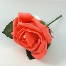 Wedding Flowers - Coral Artificial Pearl Rose Buttonhole