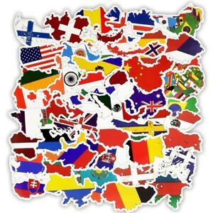 50 NATIONAL FLAG STICKERS/WORLD COUNTRIES/MAPS/COUNTRY VINYL STICKER-WATERPROOF