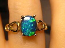 Natural Australian Lightning Ridge  Black Opal Ring 14 k Yellow Gold