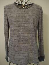 "NWT Womens Large Aventura LS Two-Tone Steel Gray Knit Top 2 1/2"" Knit Cuff"