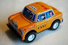 """New VINTAGE Sanko Metal Tin Toy Friction Yellow Cab Taxi Car Made in Japan 3"""""""