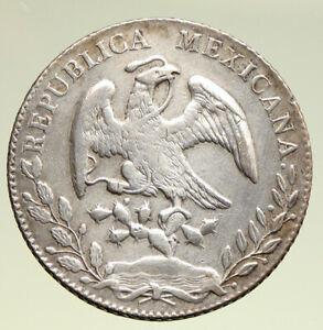 1876 Mo BH MEXICO Large Eagle Sun Antique Mexican Silver 8 Reales Coin i95004