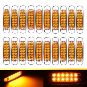 20pcs Amber Side Marker Lights Clearance 12 LED Truck Trailer For Peterbilt 12V