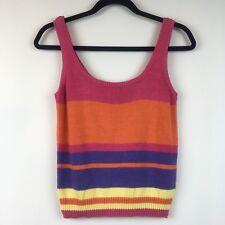 Vintage Tomboy LeSport Crop Top Womens Size Large Knit Tank Sleeveless Stripes