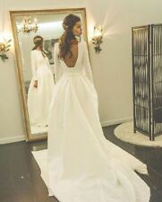 Wedding Dresses Jacquard Long Sleeves Open Back Bridal Gowns Custom Plus Size