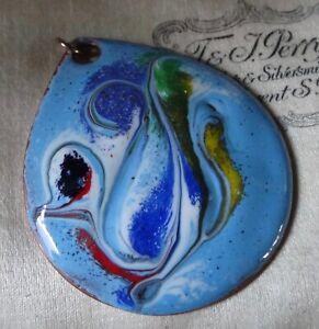 vintage multi colour enamel on copper tear drop Boho pendant for necklace -33