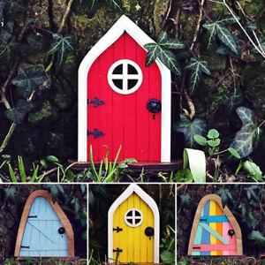 Fairy Gnome Elf Door Handpainted Wooden Outdoor Yard Tree Mystical Art Ornament