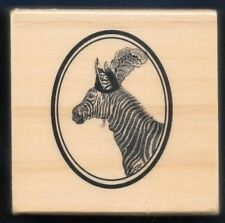 ZEBRA PARTY ANIMAL Elegant Hat Plume OVAL FRAME NEW Medium Wood RUBBER STAMP