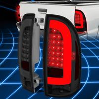 PAIR CHROME HOUSING RED LENS 3D LED L-BAR TAIL LIGHTS LH+RH FOR 09-17 RAM TRUCK