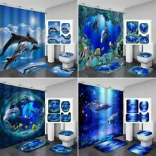 1/3/4Pcs Dolphin Bathroom Shower Curtain Bath Toilet Mat Cover Rug Set Home Deco