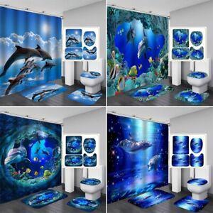 1/3/4Pcs Dolphin Bathroom Shower Curtain Bath Toilet Mat Cover Rug Set Home Deco
