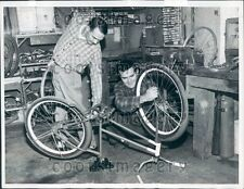 1963 Physically Challenged Brothers Work in Bicycle Repair Shop PA Press Photo