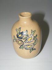 """Miniature Cole Art Pottery Floral Vase Artist Signed Douglas Cherryl 170 4 1/8"""""""